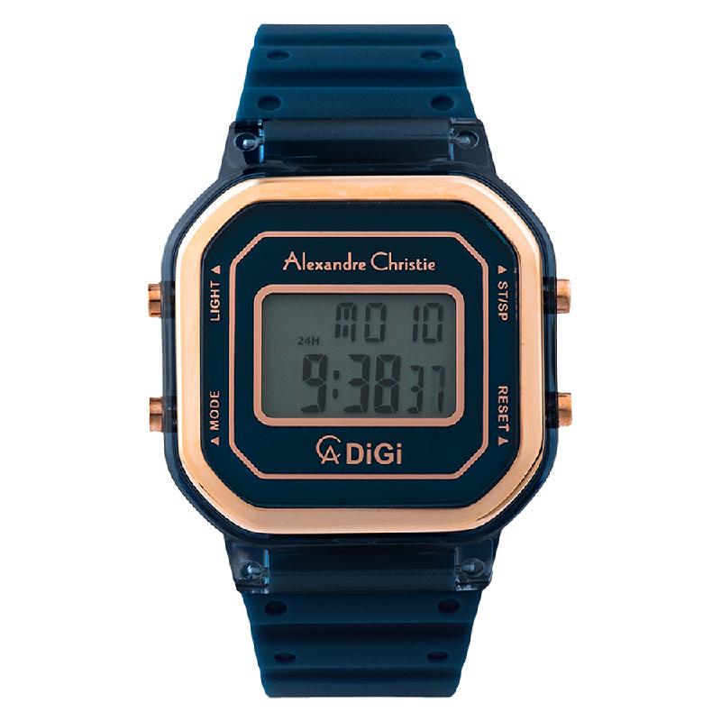 Alexandre Christie AC 9331 LH RRGBU Ladies Blue Digital Dial Blue Rubber Strap