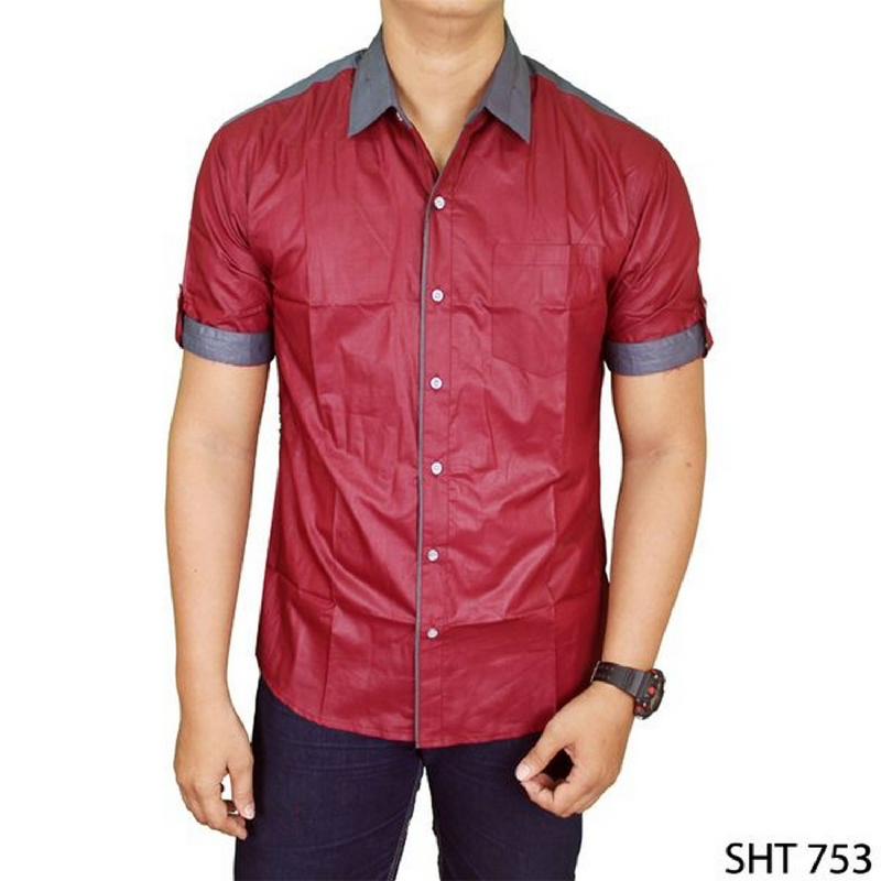 Gudang Fashion Hem Casual Pria Merah SHT 753