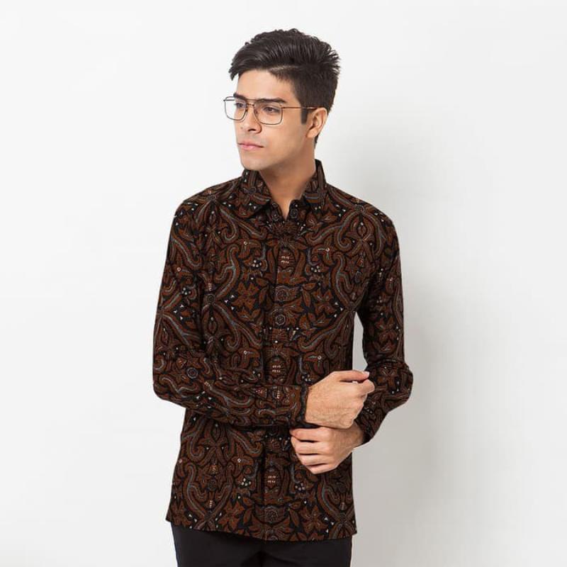 Asana Batik Slim fit Long Sleeve LSSF12003BRN Brown