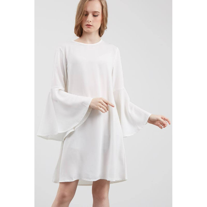 Pavoni Bell Sleeve Dress White