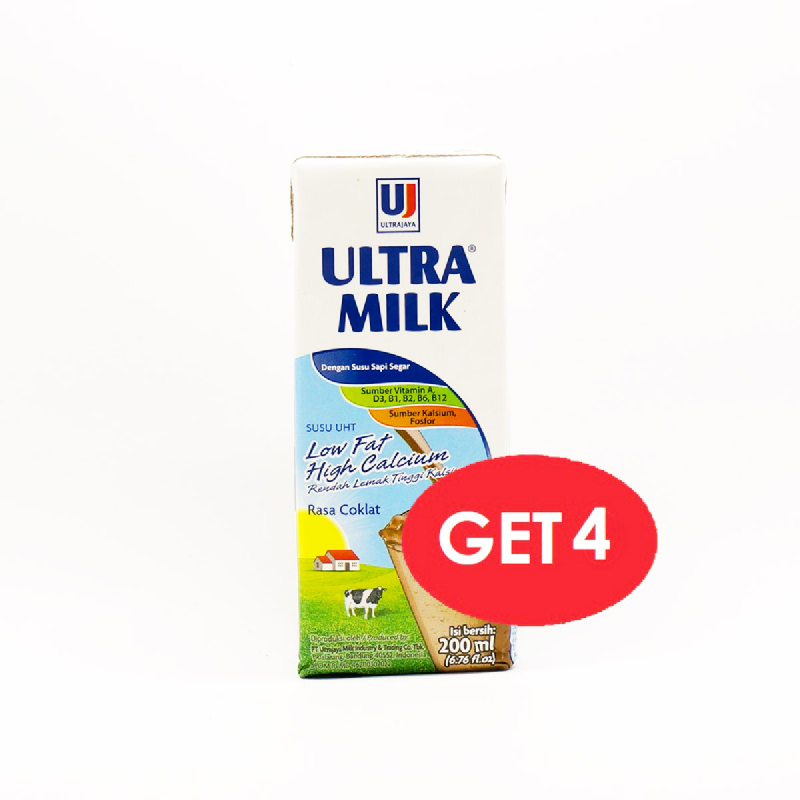 Ultra Milk Low Fat Hi-Cal Choco 200 Ml (Get 4 Pcs)