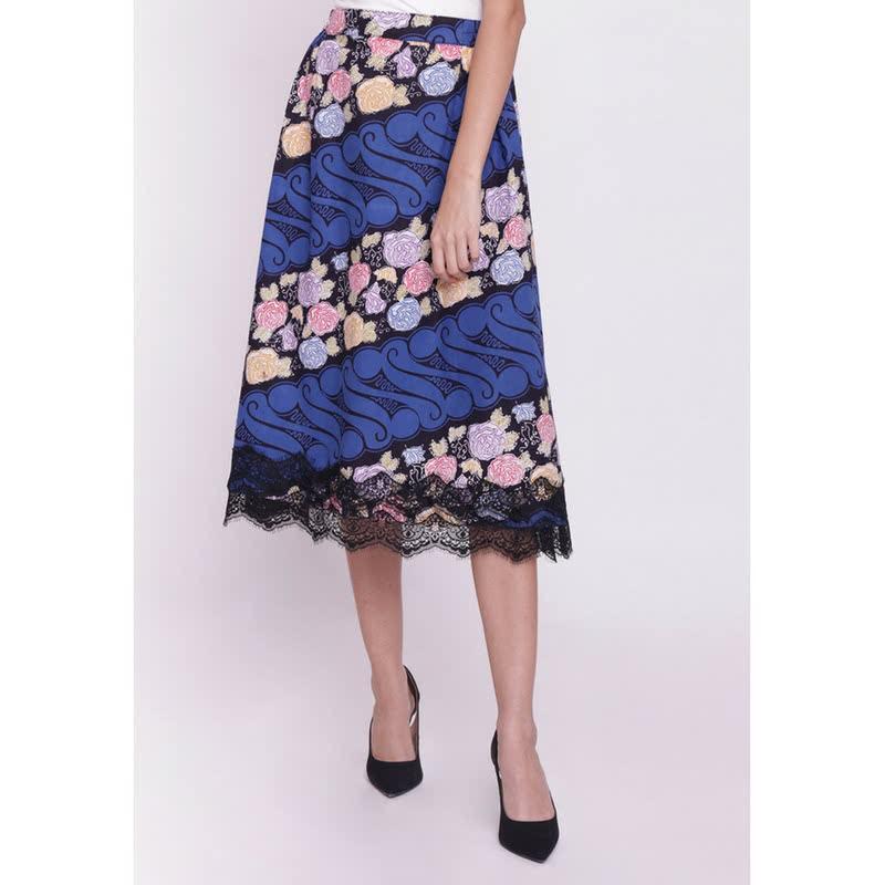 Batik Etniq Craft Zeeya Brokat Skirt-Blue