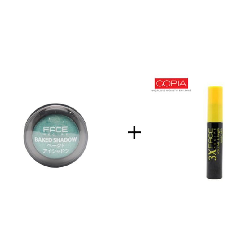 Face Recipe Baked Shadow Turquoise + Face Recipe 3X Volume & Length Mascara Black