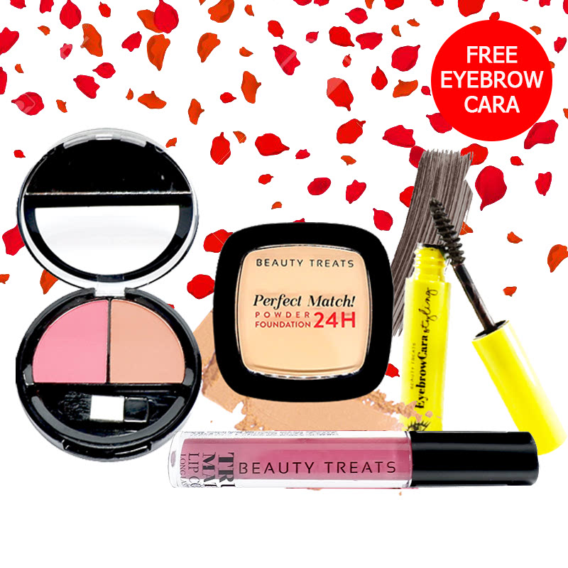 Beauty Treats Make Up Set A (Perfect Match Powder Foundation 24H No. 3 + True Matte Lip Color No. 10 + Duo Blush No. 2) FREE Eyebrowcara Dark Grey Brown