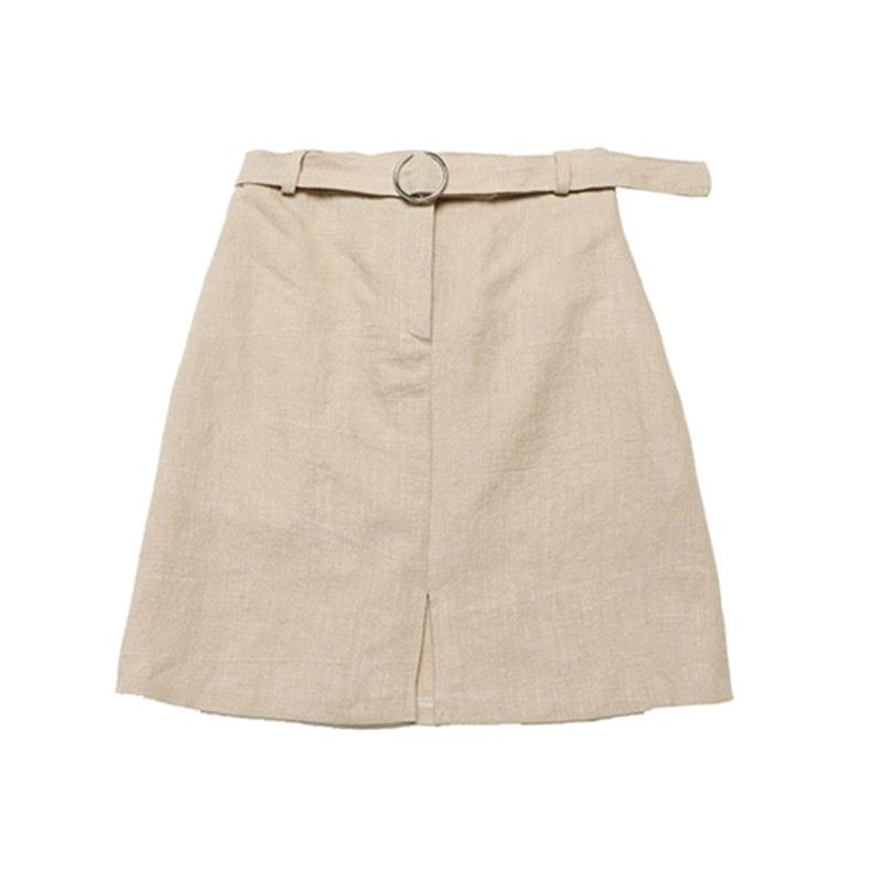 Linen Vent Ring Skirt - BEIGE