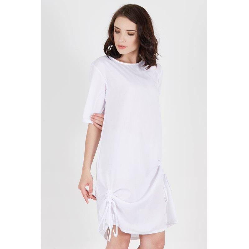 Rhona Gathered Dress White