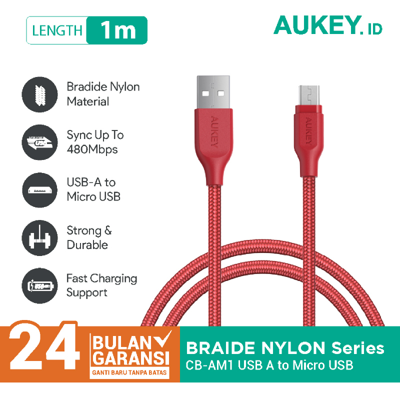 Aukey Cable 1.2M Micro High Performance Braided Red - 500273