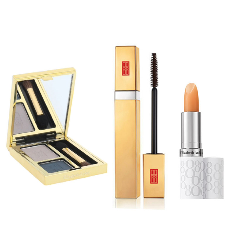 Elizabeth Arden Beautiful Color Duo Eyeshadow - Misty Teal+Free Beautiful Color Mascara Black+Free Eight Hour Lipcare Stick SPF 15