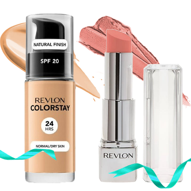 Revlon Colorstay Makeup Normal Dry Medium Beige With Pump + Revlon Ultra HD Lipstick No.865 Magnolia