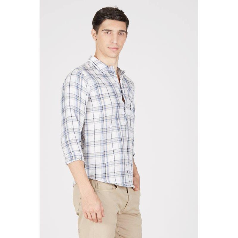 Men Geofry 34 Sleeve Shirt Blue