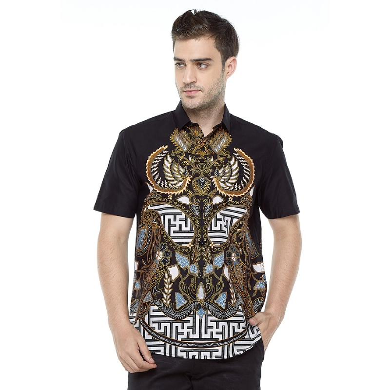 Aksa Batik Kusagra Hem Pendek Black