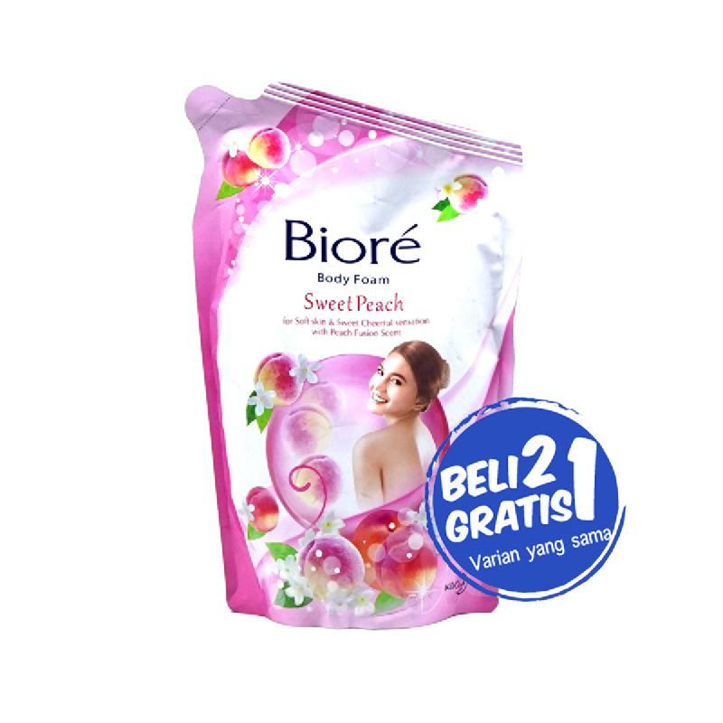 Biore Body Foam Sweet Peach Pouch 450Ml (Buy 2 Get 1)