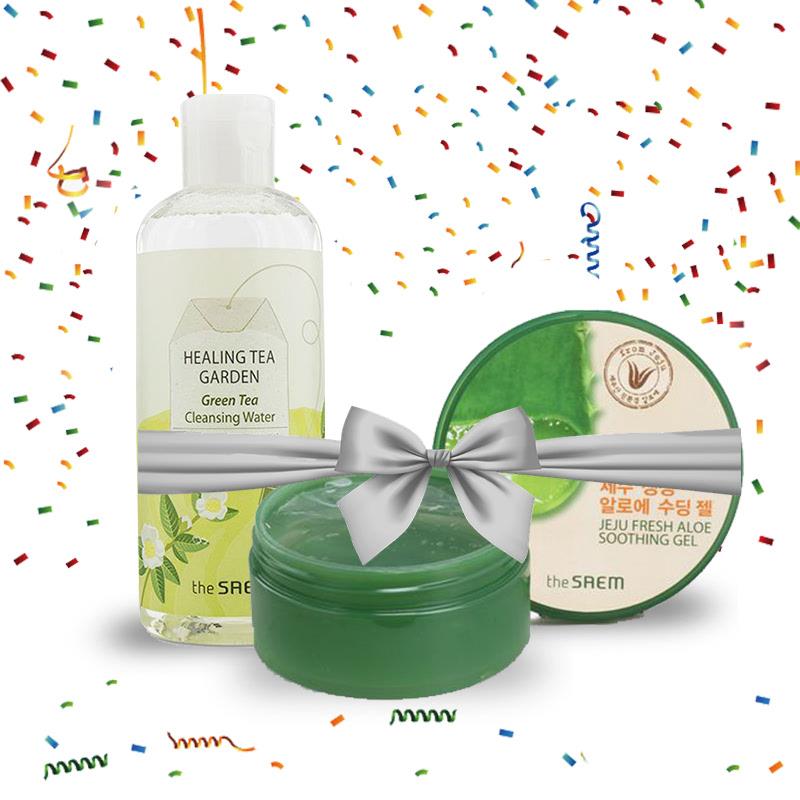 The Saem Special Set 3 (The Saem Jeju Fresh Aloe Soothing Gel 99% 300ml + The Saem Healing Tea Garden Green Tea Cleansing Water (New 2))