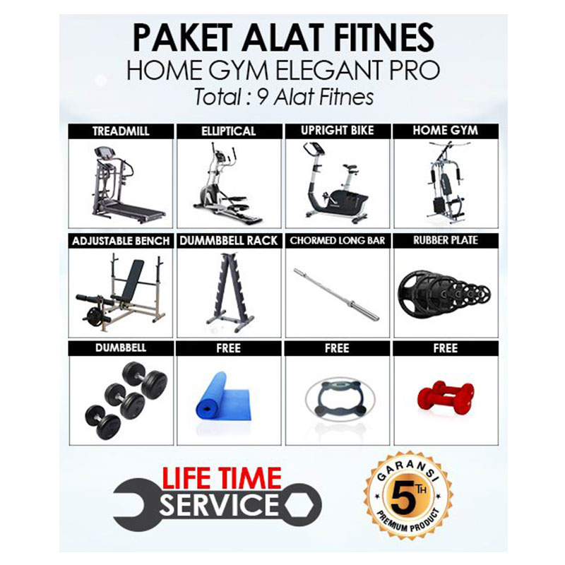 Fitplus Paket Alat Fitnes Home Gym Elegant Pro