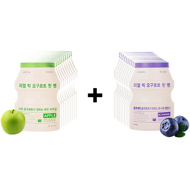 APieu Real Big Yogurt One-Bottle (Blueberry) 10Pcs + APieu Real Big Yogurt One-Bottle (Apple) 10Pcs