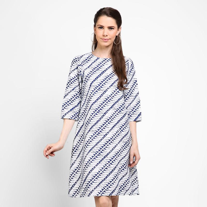 Astari Batik Dress a Line Blue White Parang