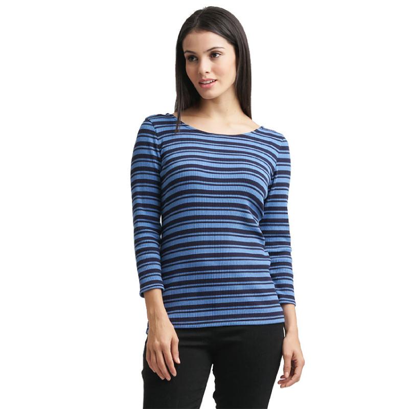Minimal Ribbed Stripes Top DARK NAVY