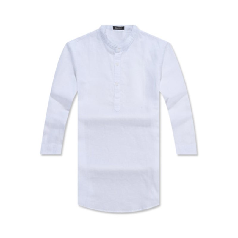 Henley Neck Three Quarter Roll-up Linen Shirt GS7203C - White