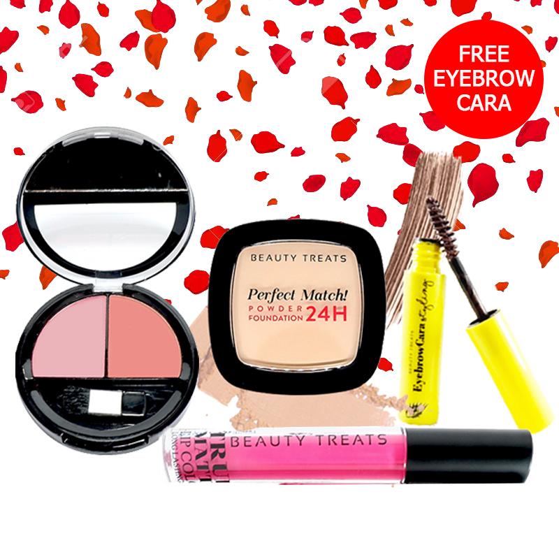 Beauty Treats Make Up Set A (Perfect Match Powder Foundation 24H No. 2 + True Matte Lip Color No. 1 + Duo Blush No. 1) FREE Eyebrowcara Dark Brown