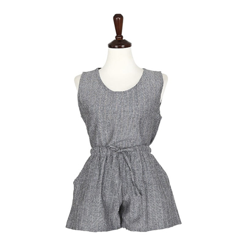 Stripe Linen Set - GREY