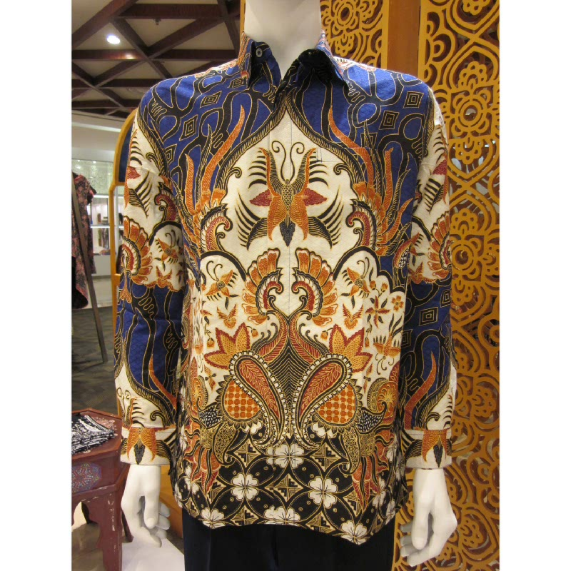 Batik Semar Hem Panjang Dobi Ceplok Kawung 40 Biru (SML)