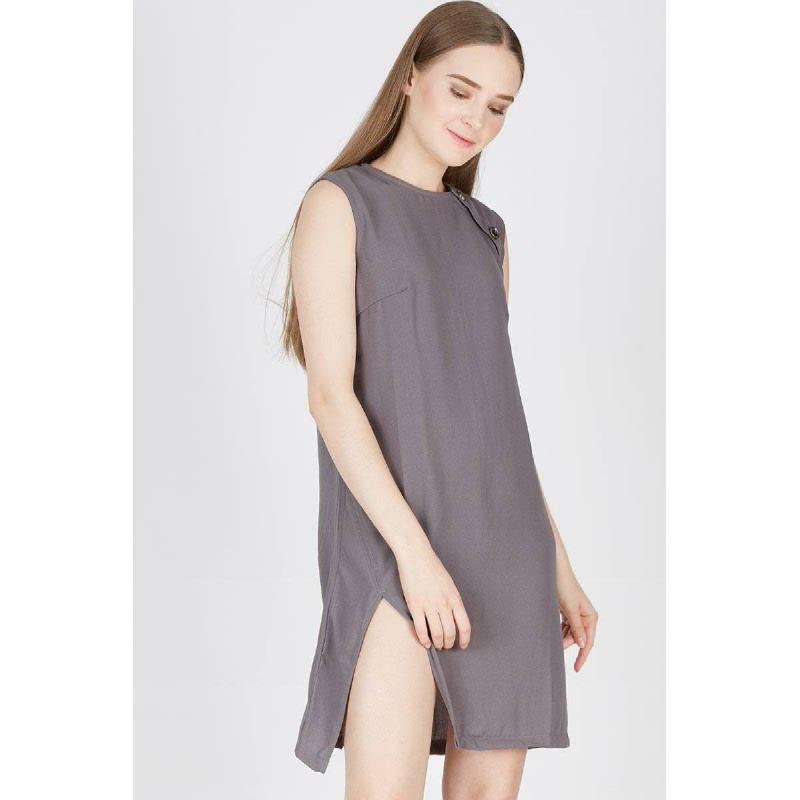 Peb Button Up Dress Grey