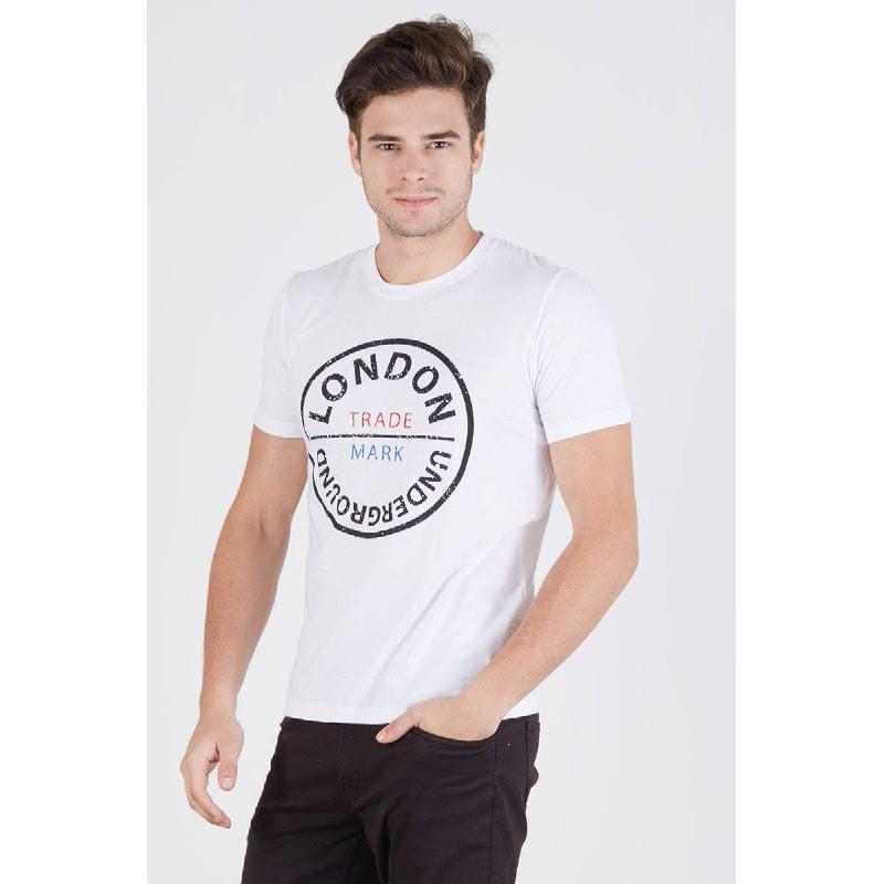 Men London Underground Tshirt White