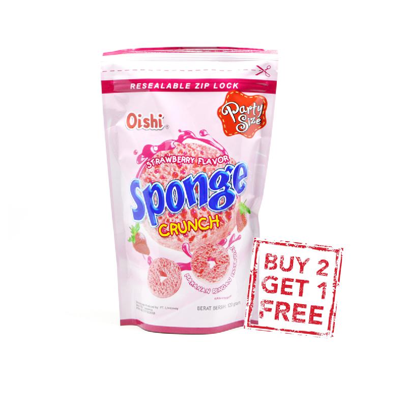 Oishi Sponge Crunch Strawberry 120G (Buy 2 Get 1)