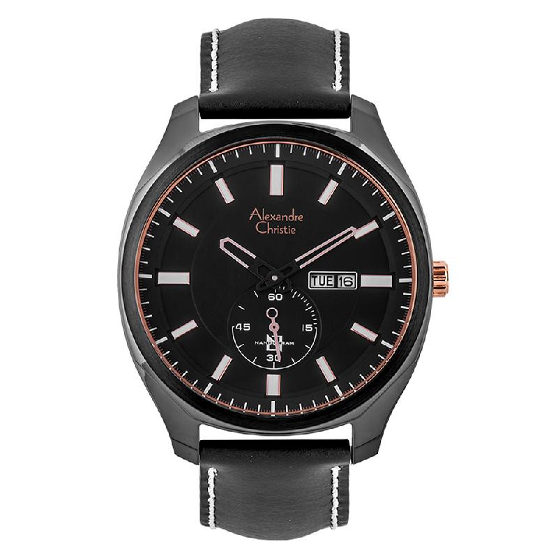 Alexandre Christie AC 6550 MS LIPBARG Nanoceram Men Black Dial Black Leather Strap