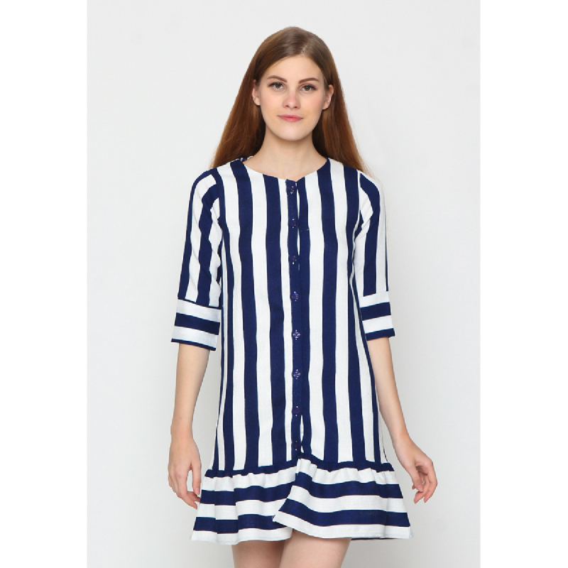 Agatha Blue Stripe Knees Shift Dress Blue And White