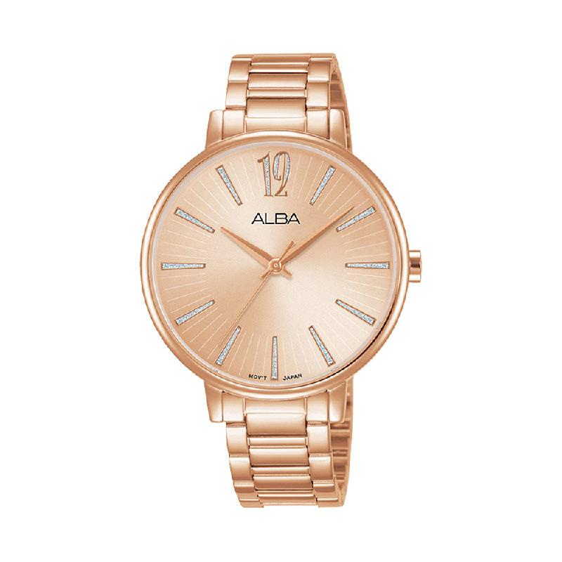 Alba AH8750X1 Ladies Rose Gold Dial Rose Gold Stainless Steel Strap