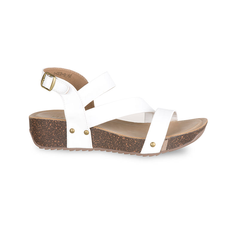 Farabona Zig Zag Cross Over Sandal Wedges Putih