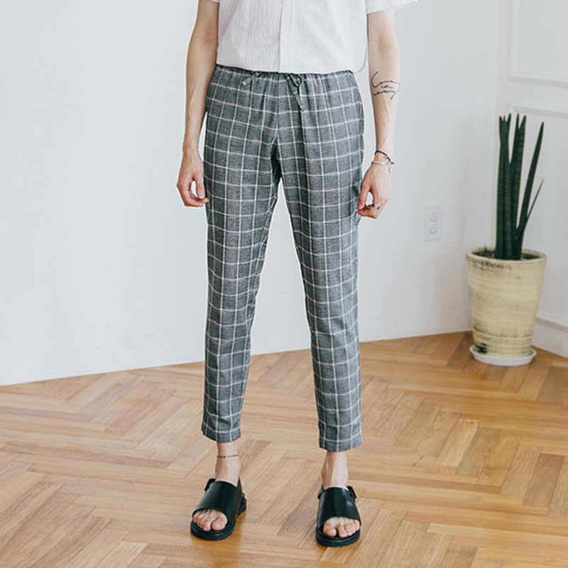 Check Banding Pants - Charcoal