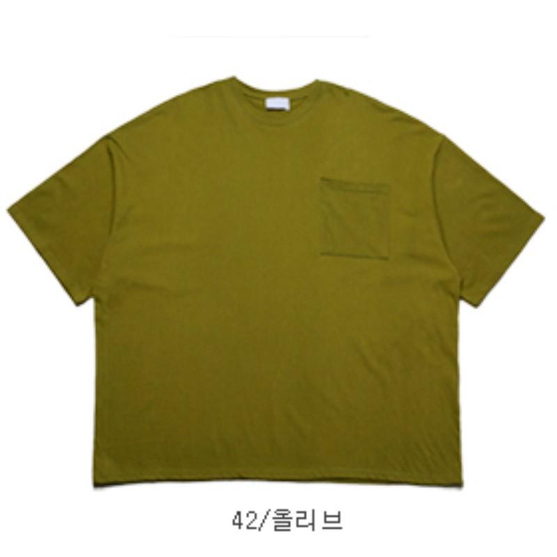 [CL2683]Big Box Pocket Over T-shirt - Olive