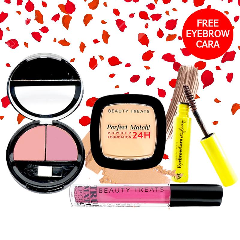 Beauty Treats Make Up Set A (Perfect Match Powder Foundation 24H No. 3 + True Matte Lip Color No. 4 + Duo Blush No. 3) FREE Eyebrowcara Dark Brown