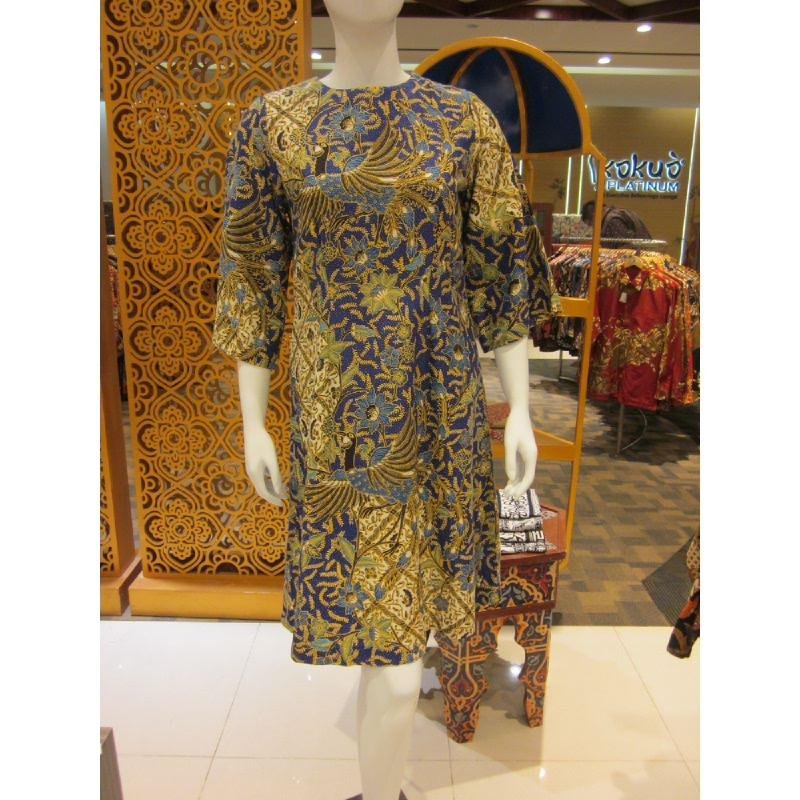 Batik Semar Lemi Dress Doby Merak Isen Sinawun 40 Blue (Size Xl)