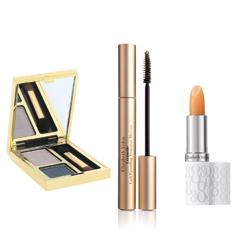 Elizabeth Arden Beautiful Color Duo Eyeshadow - Misty Teal+Free Ceramide Mascara Black+Free Eight Hour Lipcare Stick SPF 15