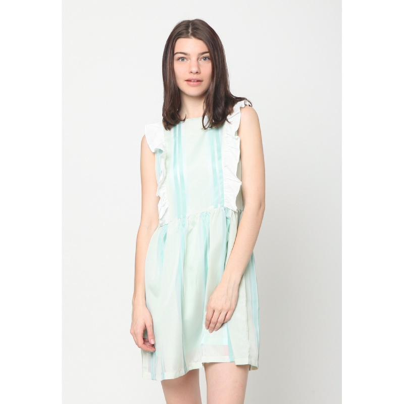 Heart And Feel Stripe Printed Dress Green