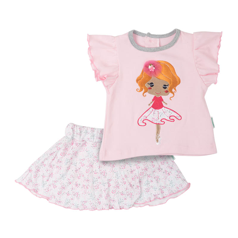 Baby Tee & Skirt Set - Flower Pink