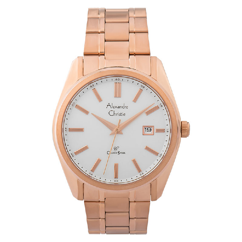 Alexandre Christie Classic Steel AC 8514 MD BRGSL Men Silver Dial Rose Gold Stainless Steel