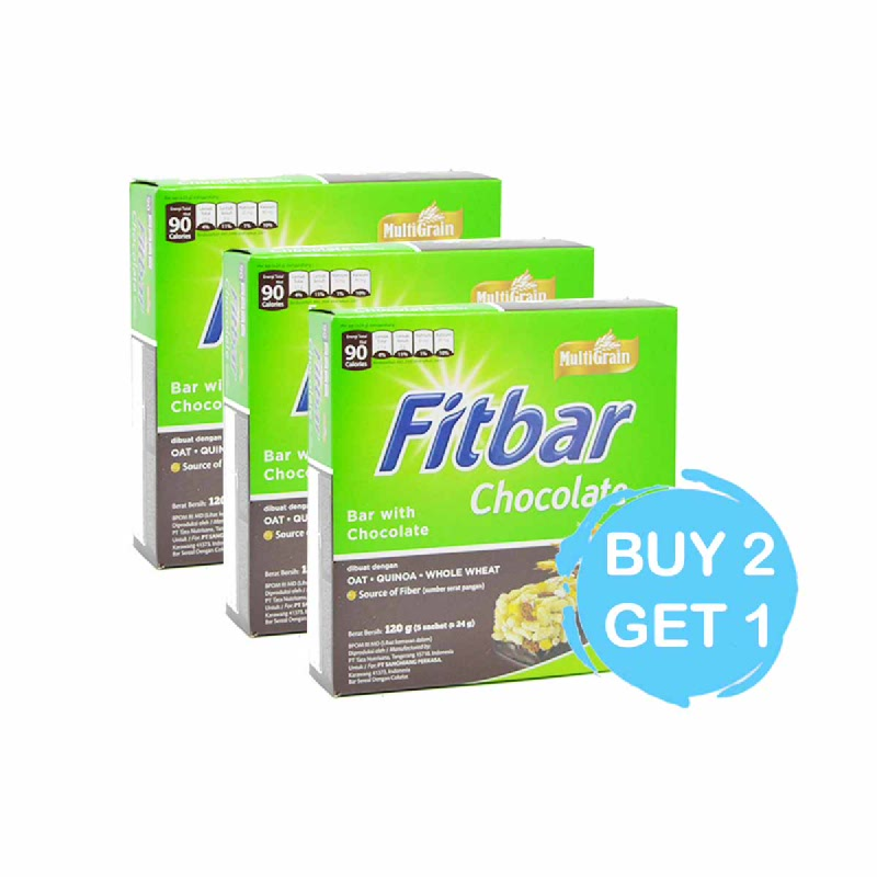 Fitbar Snack Bar Coklat 5 X 24 Gr (Buy 2 Get 1)