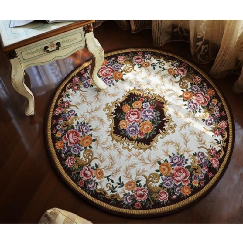 Karpet clara european round bulat empuk lembut 90x90 cm - Coffee