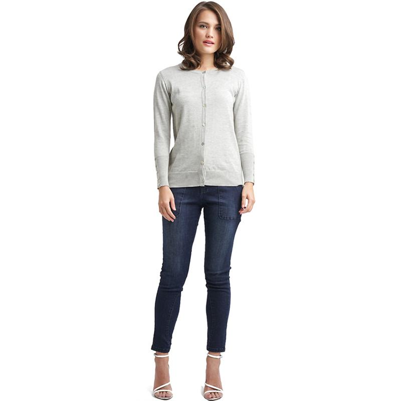 Minimal Melange Knit Cardigan LIGHT GREY