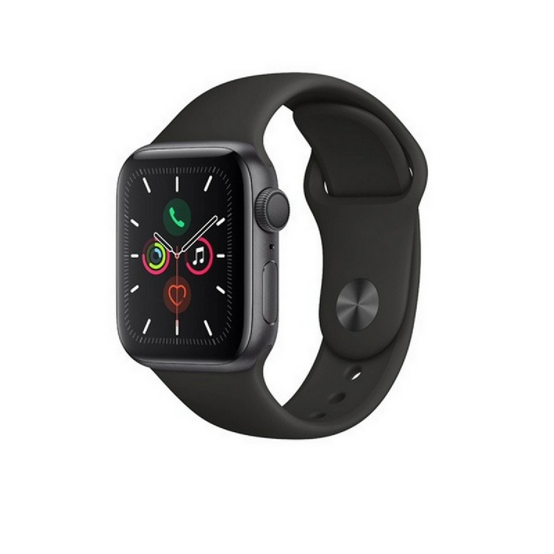 Apple Watch Series 5 GPS, 44mm Space Grey Aluminium Case with Black Sport Band - S-M & M-L