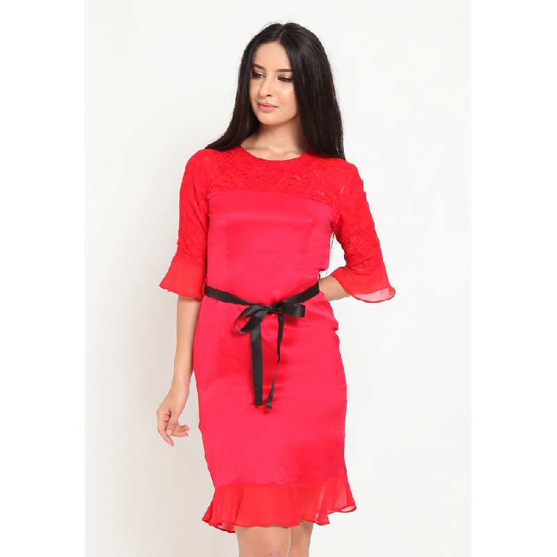 Agatha Skater Dress with Lace Red