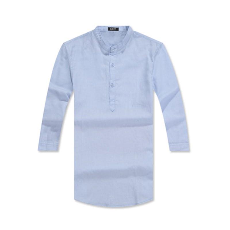 Henley Neck Three Quarter Roll-up Linen Shirt GS7203C - Blue