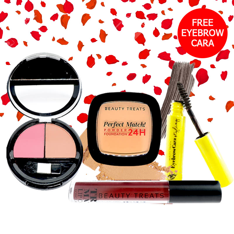 Beauty Treats Make Up Set A (Perfect Match Powder Foundation 24H No. 4 + True Matte Lip Color No. 12 + Duo Blush No. 2) FREE Eyebrowcara Dark Grey Brown
