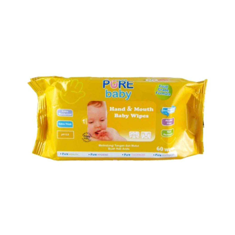 Pure Baby Hand & Mouth Baby Wipes Orange 60 Sheet