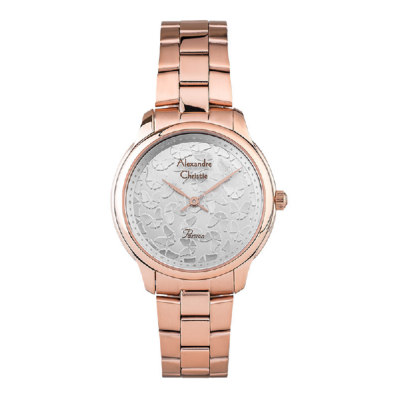 Alexandre Christie ACF-2891-LHBRGSL Ladies Silver Butterfly Dial Rose Gold Stainless Steel Strap