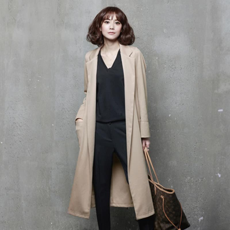 A73 Tailored Collar Opened Long Cardigan Beige